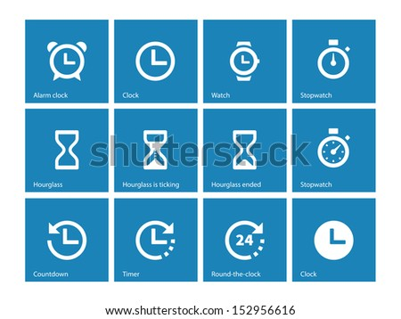Time and Clock icons on blue background. See also vector version. - stock photo