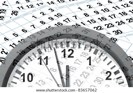 Time and deadlines calendar pages representing time and important dates in a month or days of the week represented by individual pages with numbers and clock ticking away in an urgent manner.