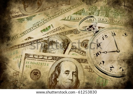 Time and money concept image - pocket watch and US currency - stock photo