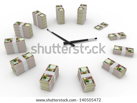 Time and money, 3D oman money shaped as clock isolated on white background - stock photo
