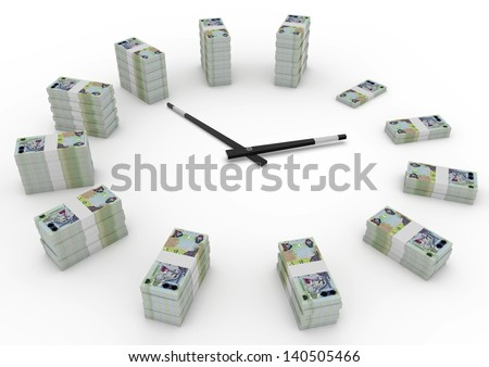 Time and money, 3D united arab of emirates money shaped as clock isolated on white background