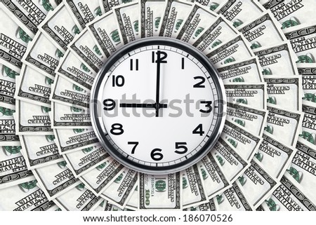 Time and working concept, wall clock on one hundred dollar banknote texture. - stock photo