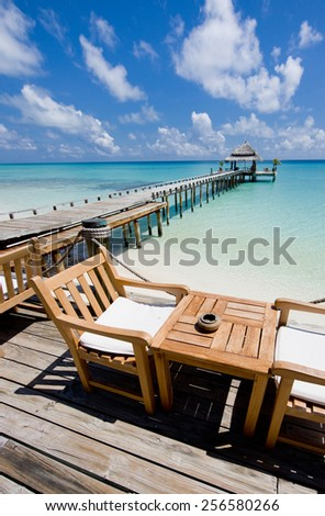 Time before breakfast  in the restaurant on the water - stock photo