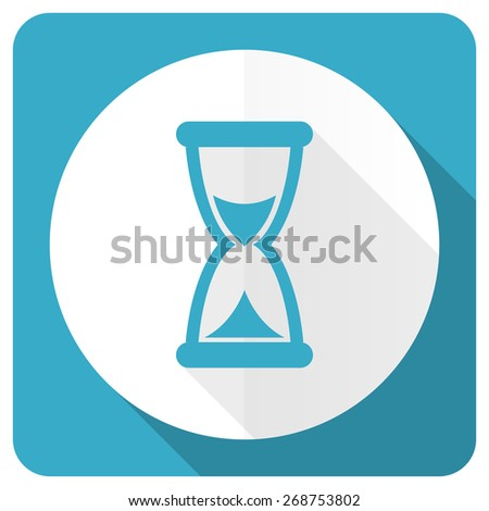 time blue flat icon hourglass sign  - stock photo