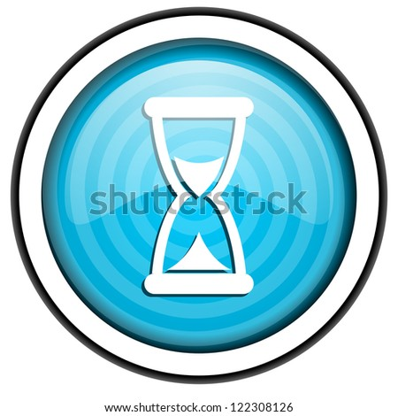 time blue glossy icon isolated on white background - stock photo