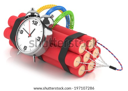Time bomb isolated on white background. 3d - stock photo
