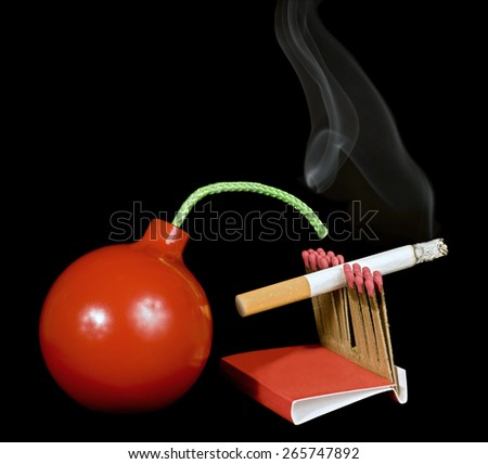 Time Bomb With Lit Cigarette And Matches/ Time Bomb Concept/ Burning Cigarette Down To Light Matches Which Lights Bomb - stock photo