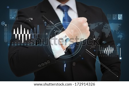 time, business and new technology concept - close up of businessman showing something at his hand - stock photo