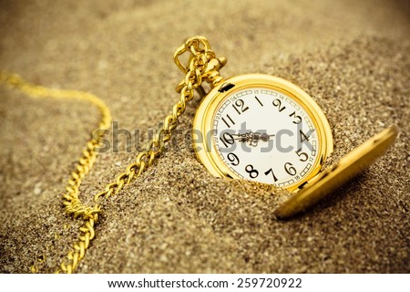 Time, clock, beach. - stock photo