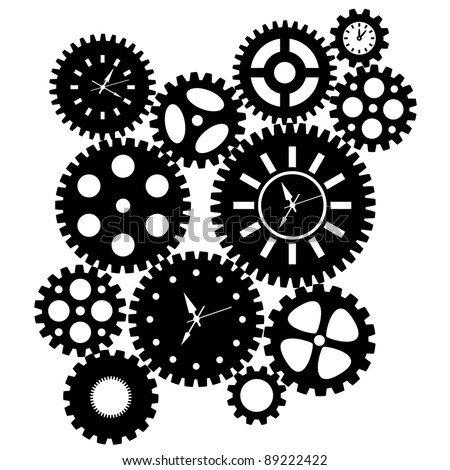 Time Clock Gears Clipart Black SIlhouette Isolated on White Background Illustration - stock photo