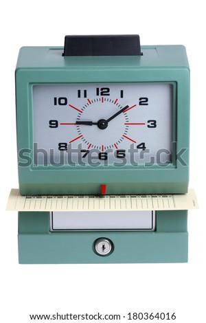 Time clock on white - stock photo