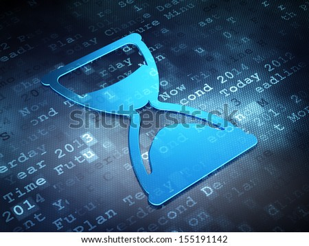 Time concept: Blue Hourglass on digital background, 3d render - stock photo