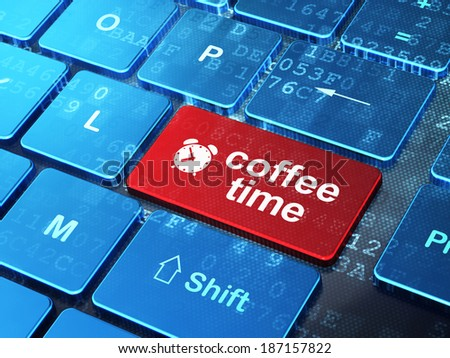 Time concept: computer keyboard with Alarm Clock icon and word Coffee Time on enter button background, 3d render - stock photo