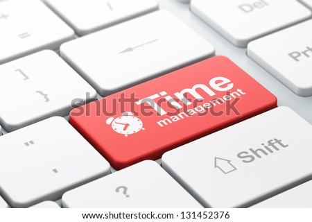 Time concept: computer keyboard with Alarm Clock icon and word Time Management, selected focus on enter button, 3d render - stock photo