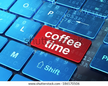 Time concept: computer keyboard with word Coffee Time on enter button background, 3d render - stock photo