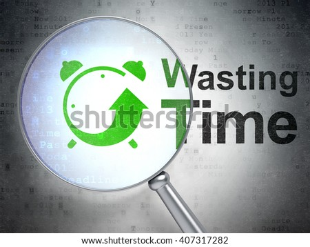 Time concept: magnifying optical glass with Alarm Clock icon and Wasting Time word on digital background, 3D rendering