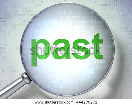 Time concept: magnifying optical glass with words Past on digital background, 3D rendering - stock photo