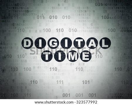 Time concept: Painted black text Digital Time on Digital Paper background with Binary Code - stock photo