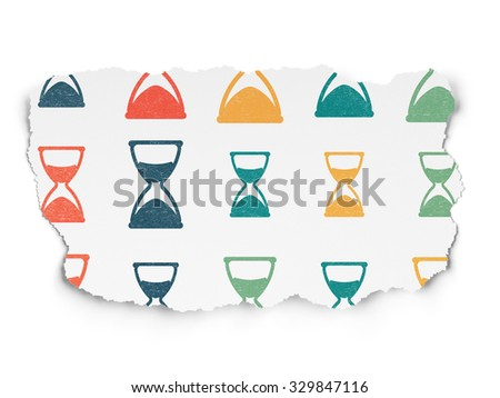 Time concept: Painted multicolor Hourglass icons on Torn Paper background - stock photo