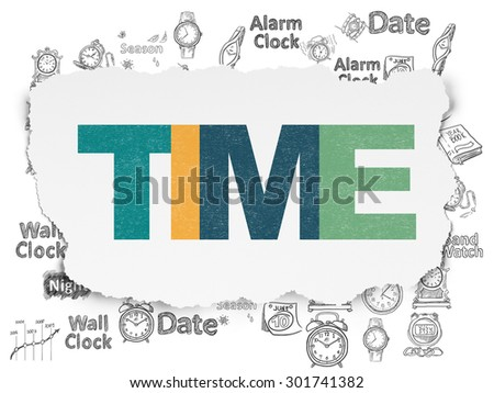 Time concept: Painted multicolor text Time on Torn Paper background with  Hand Drawing Time Icons, 3d render - stock photo