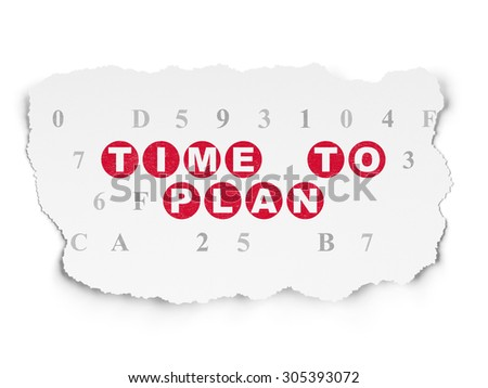 Time concept: Painted red text Time to Plan on Torn Paper background with  Hexadecimal Code, 3d render - stock photo
