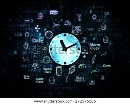 Time concept: Pixelated blue Clock icon on Digital background with  Hand Drawing Time Icons, 3d render - stock photo