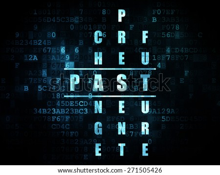 Time concept: Pixelated blue word Past in solving Crossword Puzzle on Digital background, 3d render - stock photo