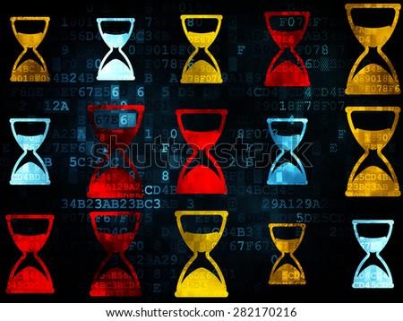 Time concept: Pixelated multicolor Hourglass icons on Digital background, 3d render - stock photo