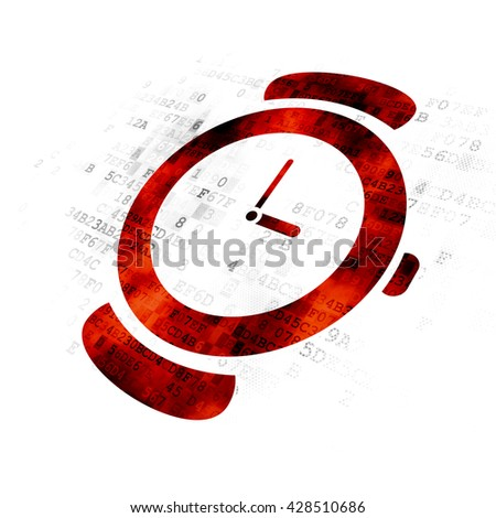 Time concept: Pixelated red Watch icon on Digital background - stock photo