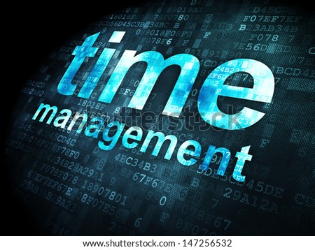 Time concept: pixelated words Time Management on digital background, 3d render - stock photo