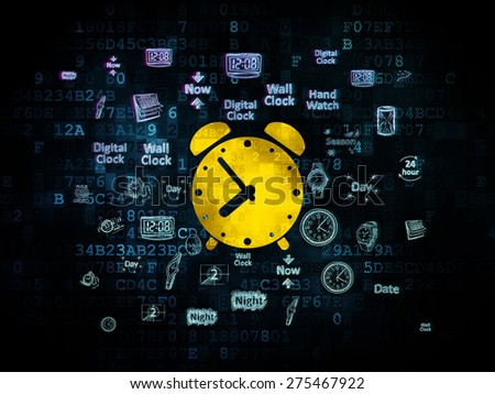 Time concept: Pixelated yellow Alarm Clock icon on Digital background with  Hand Drawing Time Icons, 3d render - stock photo