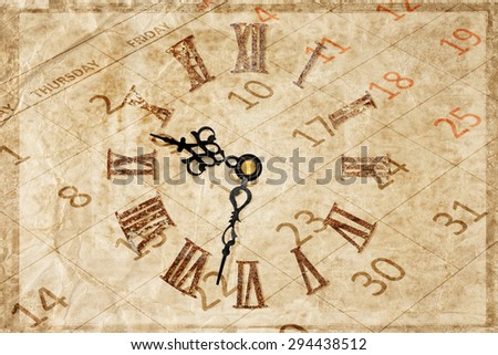 time concept with rusty roman clock face on grungy calendar - stock photo
