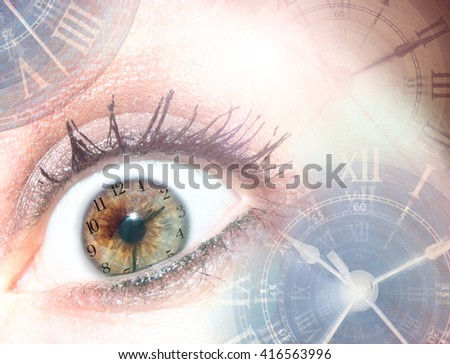Time/ Deadlines/Stress/Aging. Multiple photos of clocks & eyes are combined to create this conceptual photograph - stock photo