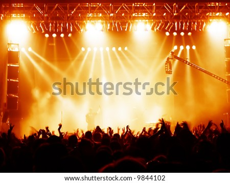 time exposure at a concert - stock photo