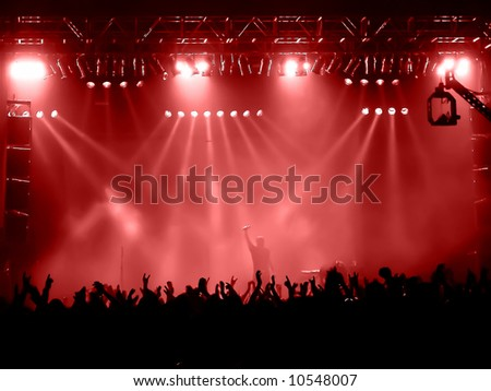 time exposure at a concert, red version - stock photo