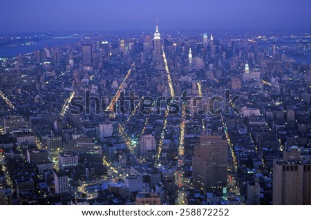 Time exposure shot of Manhattan at night from above, New York City, NY