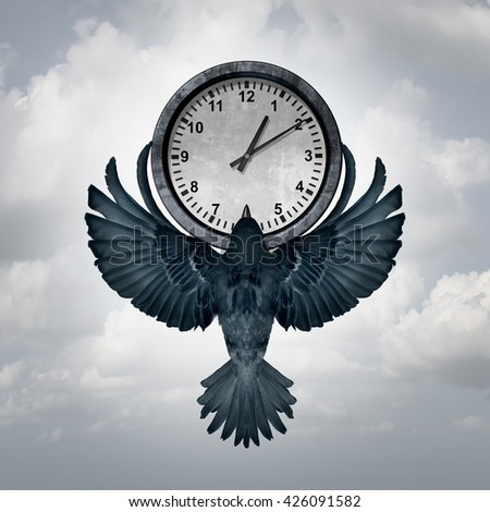Time flies concept as a bird with open wings lifting up a clock as a metaphor for management of deadline or managing appointments with 3D illustration elements. - stock photo