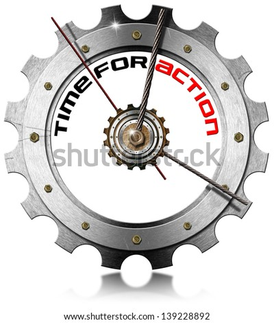 Time for Action - Metallic Gear / Metal clock gear-shaped with written time for action on a white background