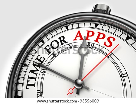 time for apps concept clock closeup on white background with red and black words