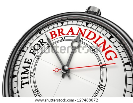 time for branding concept clock on white background with red and black words