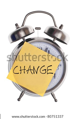 Time for Change Concept with Alarm Clock and Note with Word Change.  Isolated on White. - stock photo