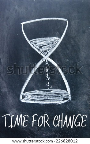 time for change sign on blackboard - stock photo