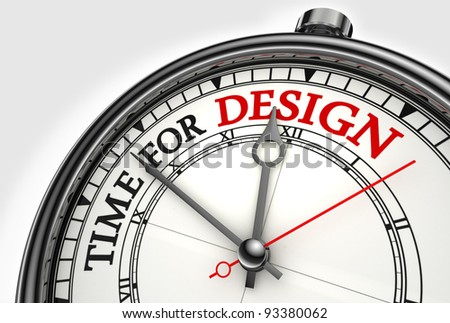 time for design concept clock closeup on white background with red and black words - stock photo