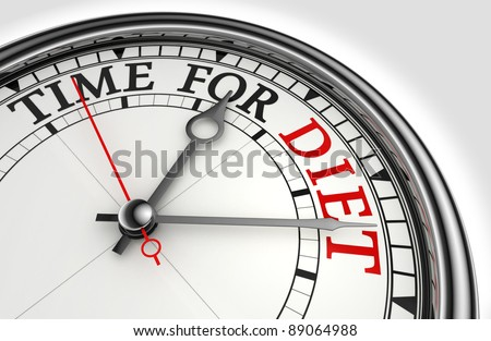 time for diet red black words on concept clock closeup on white background