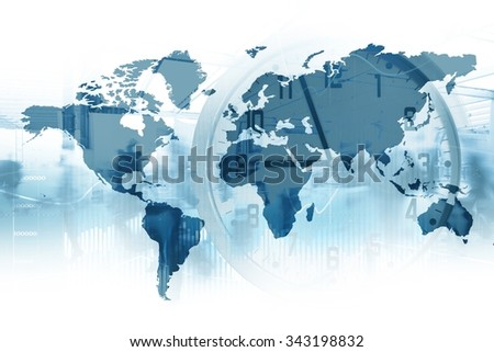Time for global business. Map of the world with a clock in double exposure. - stock photo