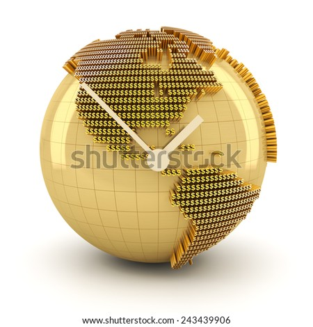 Time for global investment, 3d render, white background - stock photo