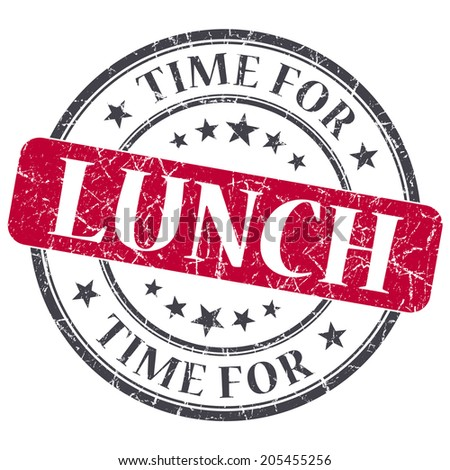 Time for lunch red grunge textured vintage isolated stamp - stock photo
