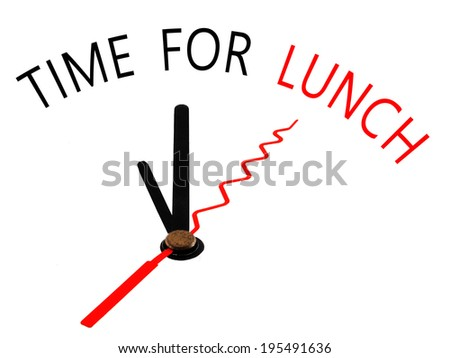 Time for Lunch with clock concept - stock photo