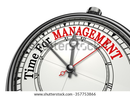 Time for management red word on concept clock, isolated on white background