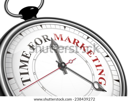time for marketing concept clock isolated on white background